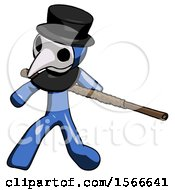 May 24th, 2018: Blue Plague Doctor Man Bo Staff Action Hero Kung Fu Pose by Leo Blanchette