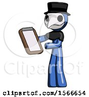 Blue Plague Doctor Man Reviewing Stuff On Clipboard