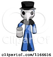 May 24th, 2018: Blue Plague Doctor Man Begger Holding Can Begging Or Asking For Charity by Leo Blanchette
