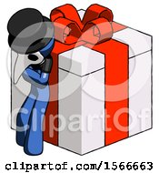 Blue Plague Doctor Man Leaning On Gift With Red Bow Angle View