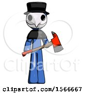 Blue Plague Doctor Man Holding Red Fire Fighters Ax