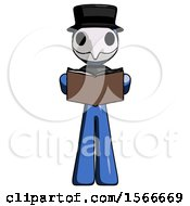 Poster, Art Print Of Blue Plague Doctor Man Reading Book While Standing Up Facing Viewer