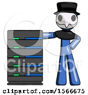 Blue Plague Doctor Man With Server Rack Leaning Confidently Against It