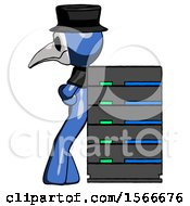 Blue Plague Doctor Man Resting Against Server Rack