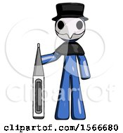 Blue Plague Doctor Man Standing With Large Thermometer