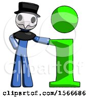 May 24th, 2018: Blue Plague Doctor Man With Info Symbol Leaning Up Against It by Leo Blanchette