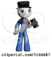 Blue Plague Doctor Man With Sledgehammer Standing Ready To Work Or Defend