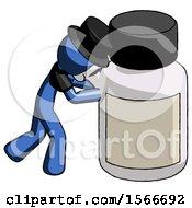Blue Plague Doctor Man Pushing Large Medicine Bottle