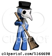 Blue Plague Doctor Man Sweeping Area With Broom