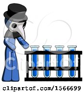 Blue Plague Doctor Man Using Test Tubes Or Vials On Rack