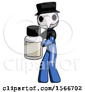 May 24th, 2018: Blue Plague Doctor Man Holding White Medicine Bottle by Leo Blanchette