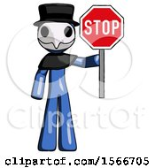 Blue Plague Doctor Man Holding Stop Sign