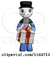 Blue Plague Doctor Man Gifting Present With Large Bow Front View