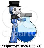 Blue Plague Doctor Man Standing Beside Large Round Flask Or Beaker