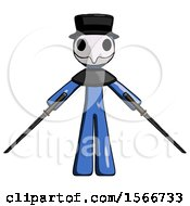 May 24th, 2018: Blue Plague Doctor Man Posing With Two Ninja Sword Katanas by Leo Blanchette