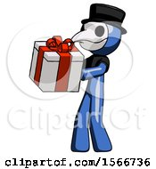 Blue Plague Doctor Man Presenting A Present With Large Red Bow On It