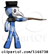 Blue Plague Doctor Man Pointing With Hiking Stick