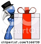 Blue Plague Doctor Man Gift Concept Leaning Against Large Present