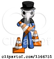 Blue Plague Doctor Man Holding A Traffic Cone