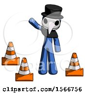 Blue Plague Doctor Man Standing By Traffic Cones Waving