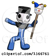Blue Plague Doctor Man Holding Jester Staff Posing Charismatically