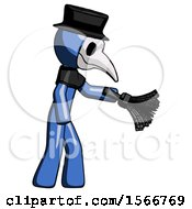 Blue Plague Doctor Man Dusting With Feather Duster Downwards