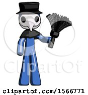 Blue Plague Doctor Man Holding Feather Duster Facing Forward