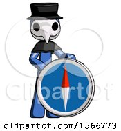 Blue Plague Doctor Man Standing Beside Large Compass