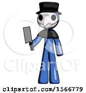 Blue Plague Doctor Man Holding Meat Cleaver