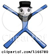 Blue Plague Doctor Man With Arms And Legs Stretched Out