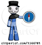 Blue Plague Doctor Man Holding A Large Compass