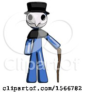 Blue Plague Doctor Man Standing With Hiking Stick
