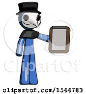 Blue Plague Doctor Man Showing Clipboard To Viewer