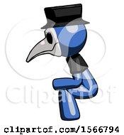 Blue Plague Doctor Man Squatting Facing Left