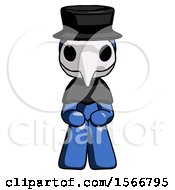 Blue Plague Doctor Man Squatting Facing Front