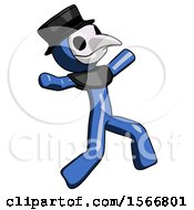 Blue Plague Doctor Man Running Away In Hysterical Panic Direction Right