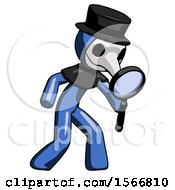 Blue Plague Doctor Man Inspecting With Large Magnifying Glass Right