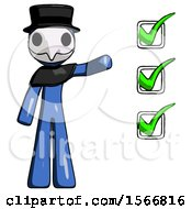 Blue Plague Doctor Man Standing By List Of Checkmarks