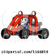 Blue Plague Doctor Man Riding Sports Buggy Side Angle View
