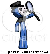 Blue Plague Doctor Man Inspecting With Large Magnifying Glass Facing Up