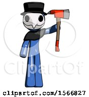 Blue Plague Doctor Man Holding Up Red Firefighters Ax