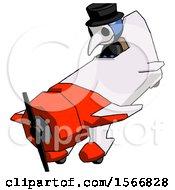 Blue Plague Doctor Man In Geebee Stunt Plane Descending View