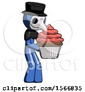 Blue Plague Doctor Man Holding Large Cupcake Ready To Eat Or Serve