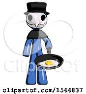 Blue Plague Doctor Man Frying Egg In Pan Or Wok