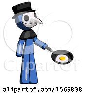 Poster, Art Print Of Blue Plague Doctor Man Frying Egg In Pan Or Wok Facing Right