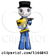 Blue Plague Doctor Man Holding Large Drill