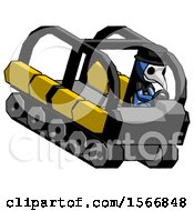 Blue Plague Doctor Man Driving Amphibious Tracked Vehicle Top Angle View