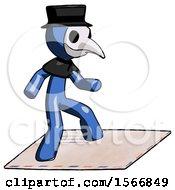 Blue Plague Doctor Man On Postage Envelope Surfing