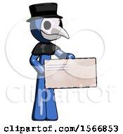 Blue Plague Doctor Man Presenting Large Envelope