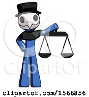 Blue Plague Doctor Man Holding Scales Of Justice